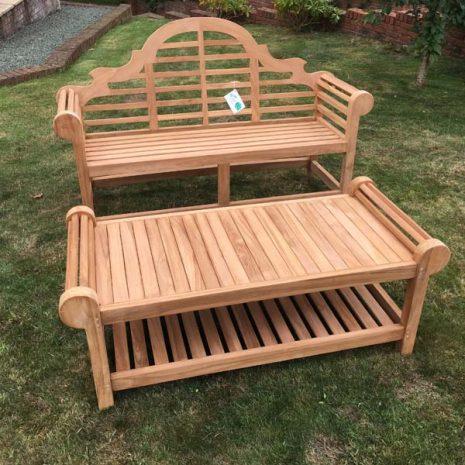 Classic Lutyens Teak Garden Bench Coffee Table