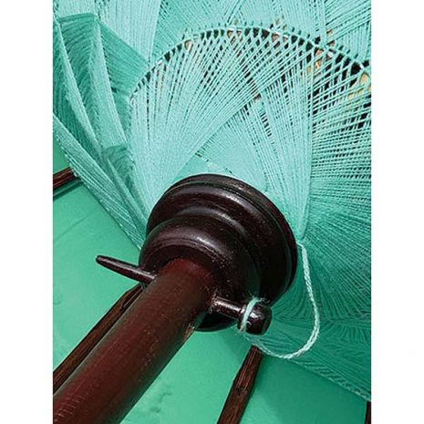 PJ_MAK_BB75 Traditional Balinese Sun Parasol Mint Green – Underside of canopy
