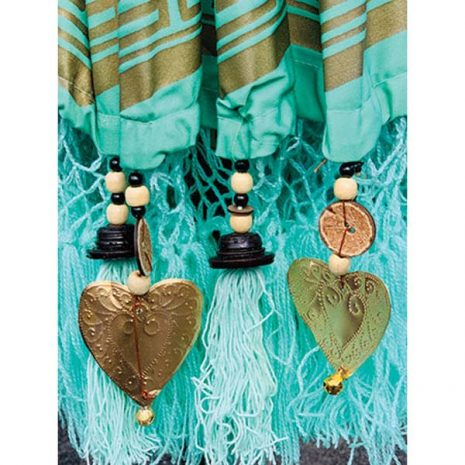PJ_MAK_BB75 Traditional Balinese Sun Parasol Umbrella – Mint Green – Beaded Canopy Fringe
