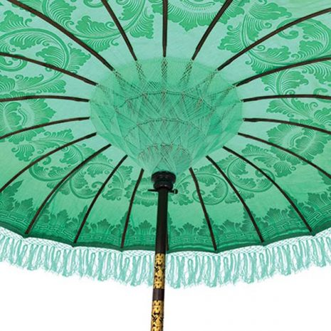 PJ_MAK_BB75 Traditional Balinese Sun Parasol Umbrella – Mint Green - Handweaving under canopy
