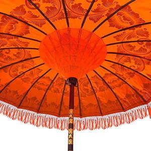 PJ_MAK_MB76 Traditional Balinese Sun Parasol Umbrella – Orange 2m Canopy - Handwoven detail