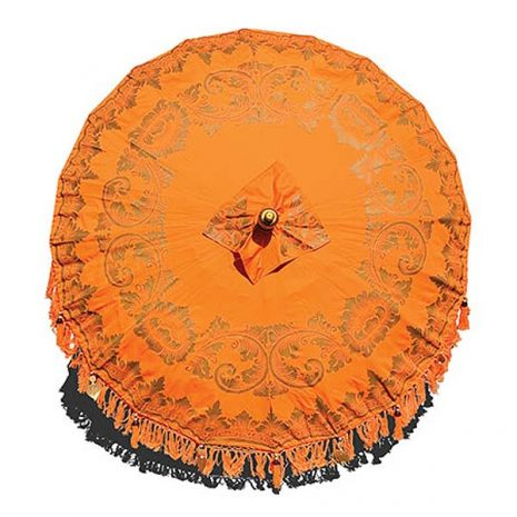 PJ_MAK_MB76 Traditional Balinese Sun Parasol Umbrella – Orange 2m Canopy from above