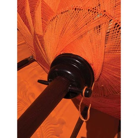PJ_MAK_MB76 Traditional Balinese Sun Parasol Umbrella – Orange 2m Canopy from below