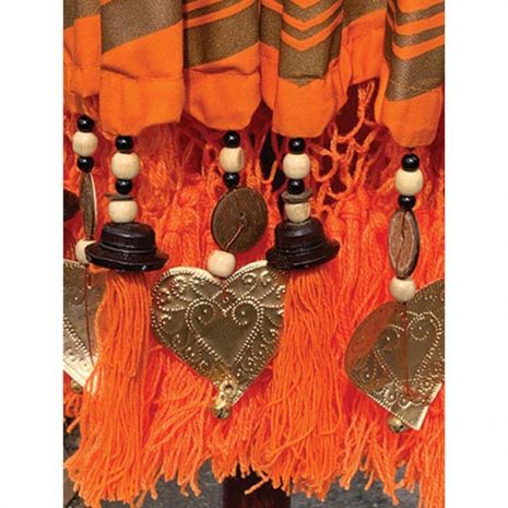 PJ_MAK_MB76 Traditional Balinese Sun Parasol Umbrella – Orange Canopy Tassles & Beads