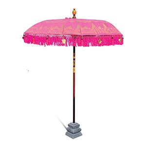 PJ_MAK_MB77 - Balinese Traditional Sun Parasol Umbrella - Pink - With Stand