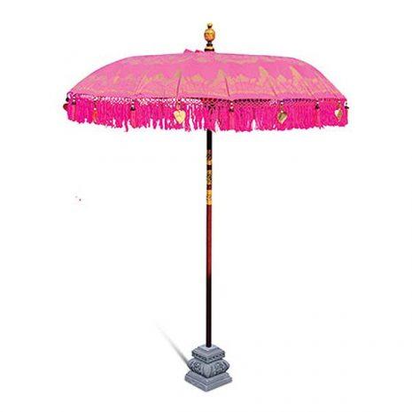 PJ_MAK_MB77 - Balinese Traditional Sun Parasol Umbrella - Pink - With Stand