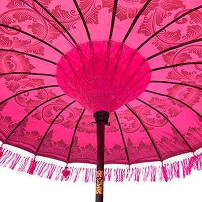 PJ_MAK_MB77 - Balinese Traditional Sun Parasol Umbrella - Underside of Pink Canopy