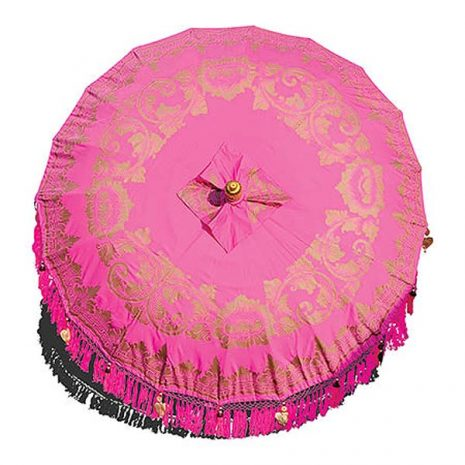 PJ_MAK_MB77 - Traditional Balinese Sun Parasol Umbrella - Pink Canopy from above