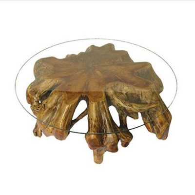 Bakulan Extra Large Spider Root Spider Coffee Table 120cm Round Glass H45cm - PJ_MAK_MJ8G