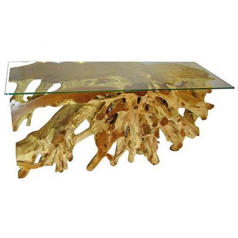 Bakulan Teak Root Large Console Table Glass Top Hallway Table