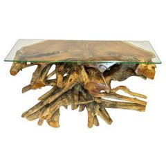 Bakulan Teak Root Small Console Table Glass Top Hallway Table
