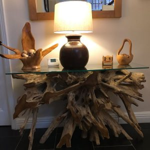 Bakulan Teak Root Small Console Table Glass Top in Hallway