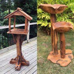 Teak Root Bird Table And Bird Bath Set