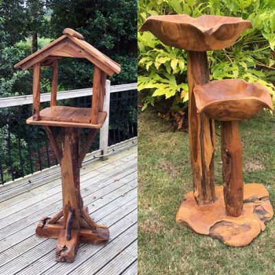 Teak Root Bird Table And Bird Bath Set