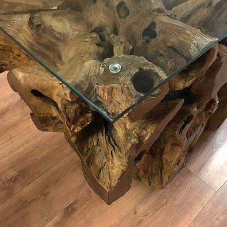 Kipling Reclaimed Teak Root Rectangular Dining Table - close up