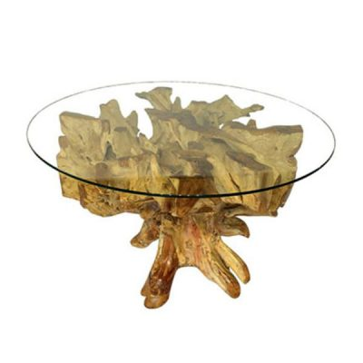 Padang Teak Root Spider Stone Dining Table - 150cm Round Glass Top