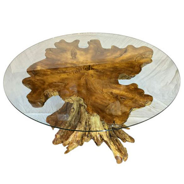 Teak Root Trunk Dining Table 150cm Round Glass Top Raja