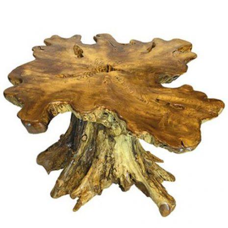 Raja Teak Root Trunk Mushroom Shaped Dining Table 130cm