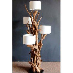 Negara Teak Root Four Shade Floor Lamp
