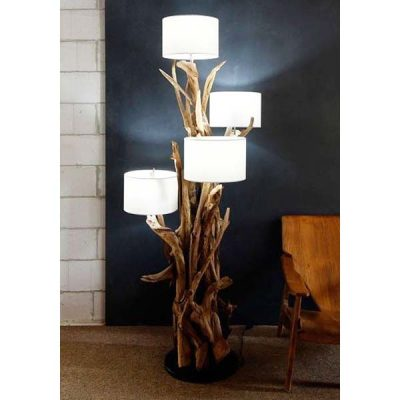 Negara Teak Root Four Shade Floor Lamp