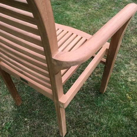 Saville Stacking Teak Garden Armchair - Back of armrest