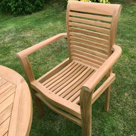 Saville Stacking Teak Garden Armchair Close up