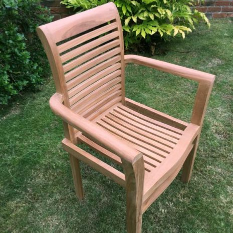 Saville Stacking Teak Garden Armchair - Close up three quarter view
