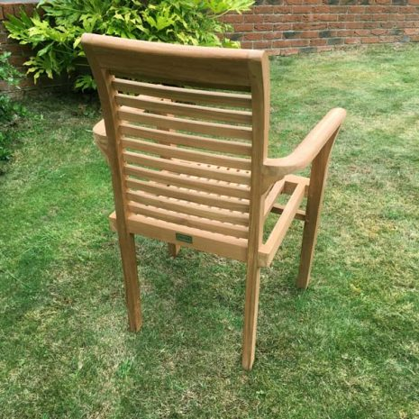 Saville Stacking Teak Garden Armchair - Rear view