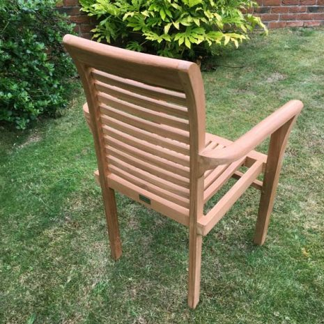 Saville Stacking Teak Garden Armchair - Three quarter view rear