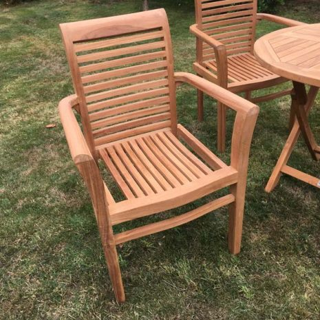 Saville Stacking Teak Garden Armchair - front view