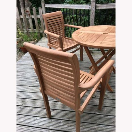 Saville Stacking Teak Garden Armchairs plus folding Teak Table