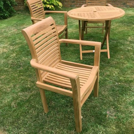 Saville Stacking Teak Garden Armchairs with folding Teak Table