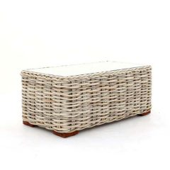 Poole Outdoor Rattan Coffee Table Glass Top