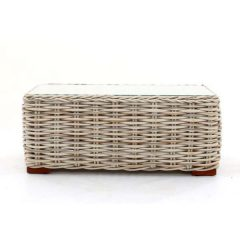Poole Outdoor Rattan Coffee Table Glass Top - Side view