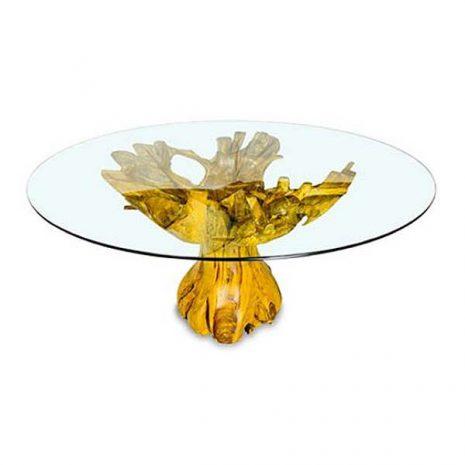 PJ_MAK_MJ616 Lombok Teak Root Round Dining Table 150cm Glass Top