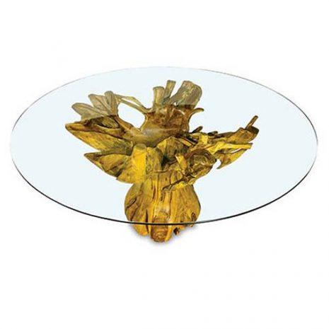 PJ_MAK_MJ616 - Lombok Teak Root Round Dining Table 150cm Glass Top