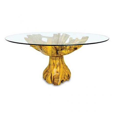 PJ_MAK_MJ616 Lombok Teak Root Round Dining Table 150cm Glass Top - Side view 2