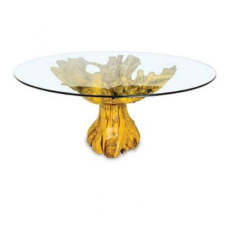 J_MAK_MJ616 Lombok Teak Root Round Dining Table 150cm Glass Top - Side view 3