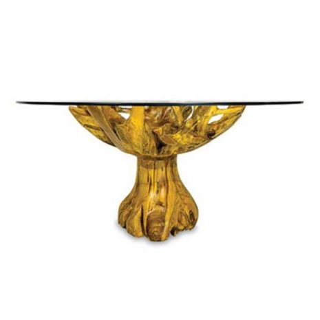 PJ_MAK_MJ616 Lombok Teak Root Round Dining Table 150cm Glass Top - Side view