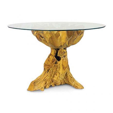 PJ_MAK_MJ617 - Lombok Teak Root Round Dining Table 120cm - Side view
