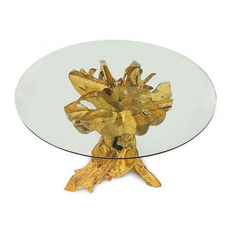PJ_MAK_MJ617 - Lombok Teak Root Round Dining Table 120cm - Top down