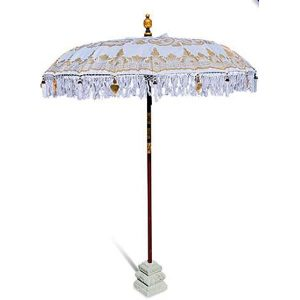 Balinese Traditional Sun Parasol Umbrella Bright White & Gold