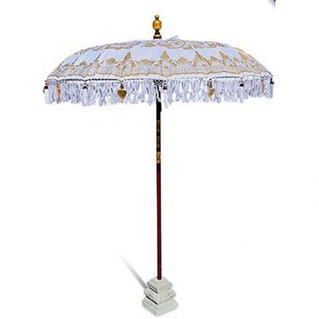Balinese Traditional Sun Parasol Umbrella Bright White & Gold