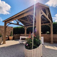 Cedar Wooden Gazebo Side With Plants