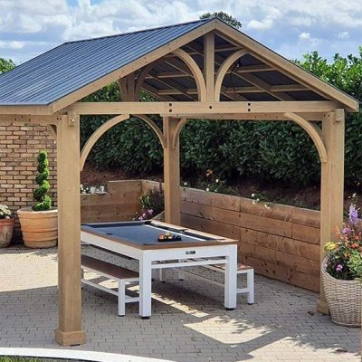 Cedar Wooden Gazebo Side Elevation With Pool Table