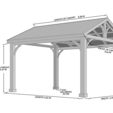 Colorado Large Cedar Wooden Gazebo - Dimensions