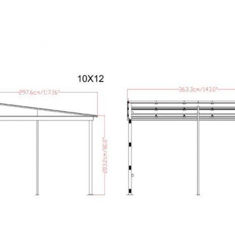 Curtain Sided Wall Gazebo 3m x 3.65m dimensions