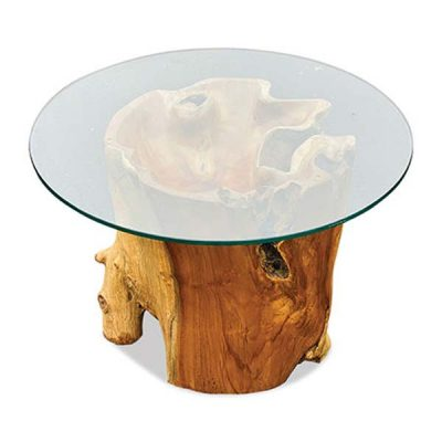 Lombok Teak Root Coffee Table 70cm Round Glass top_PJ_MAK_MJ629