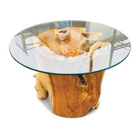 Lombok Teak Root Coffee Table 70cm Round Safety Glass Top