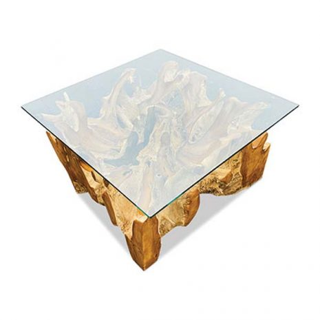 Lombok Teak Root Coffee Table 90cm Square Glass top
